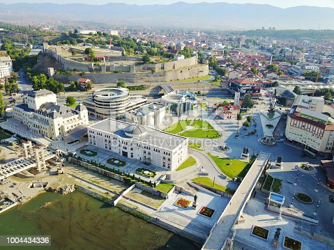 686175420 istock photo Aerial view of Skopje city. 1004434336