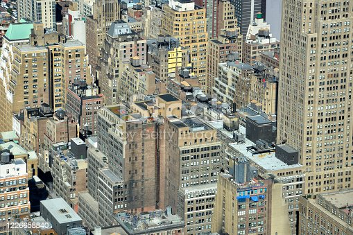 598224046 istock photo Aerial view of skyline with crowded skyscrapers and buildings in Manhattan, New York City, USA 1226658840