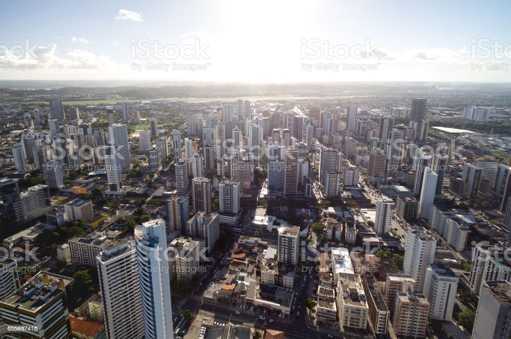 Aerial View of Skyscrapers in a Big City stock photo