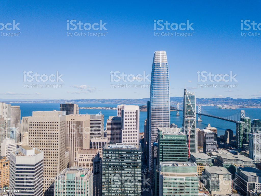 Aerial view of skyscrapers in Downtown San Francisco stock photo