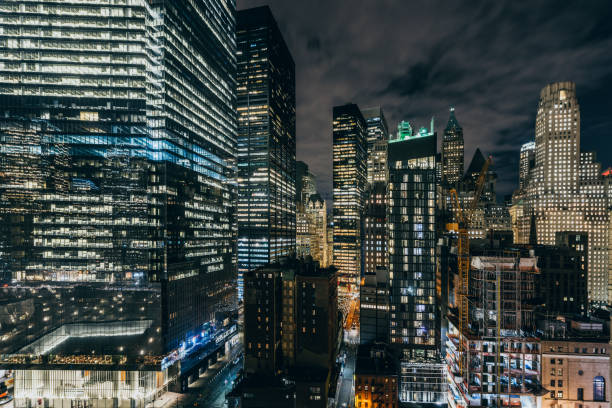 Aerial View of Skyscrapers in Manhattan at Night / NYC stock photo