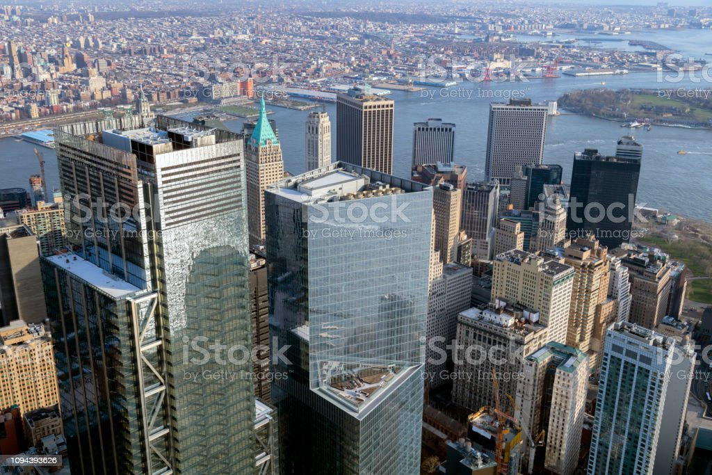 Luftaufnahme der Wolkenkratzer in Manhattan, New York – Foto