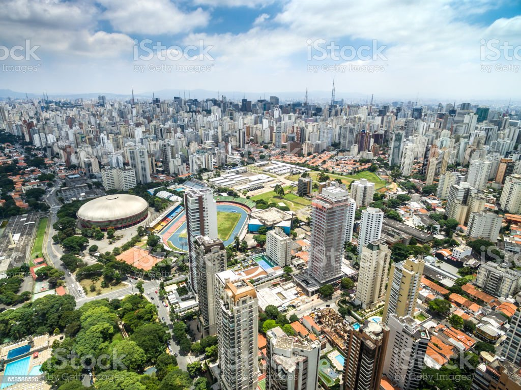 Aerial view of skyscrapers in Sao Paulo, Brazil stock photo