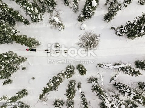 istock Aerial view of sledding with husky dogs in Lapland Finland. 1058280606