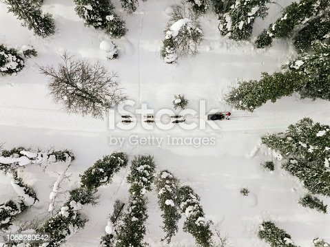 istock Aerial view of sledding with husky dogs in Lapland Finland. 1058280642