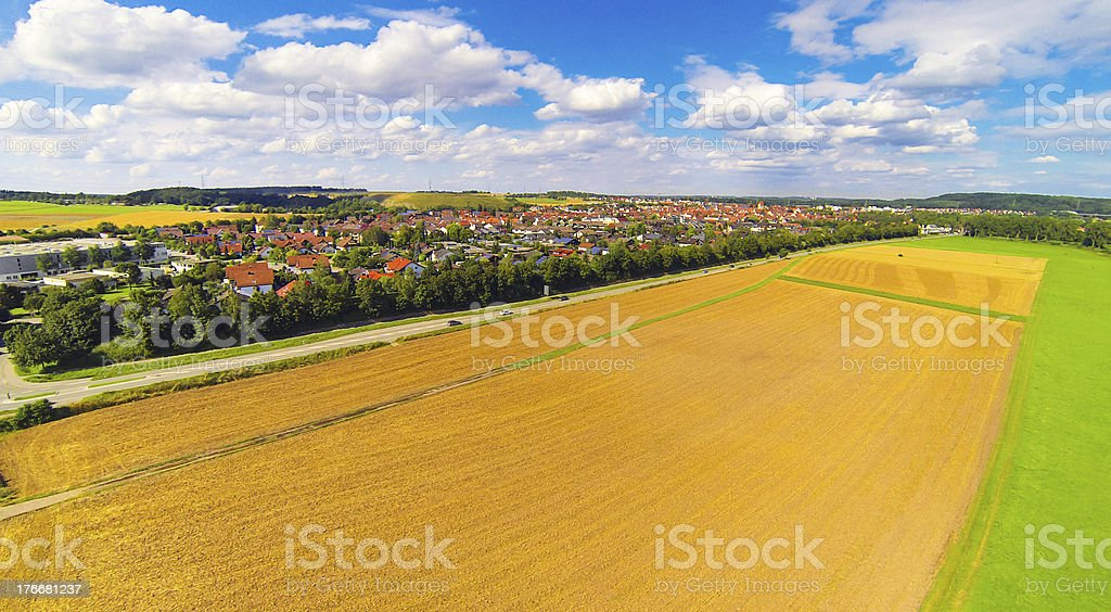aerial view of small german town royalty-free stock photo