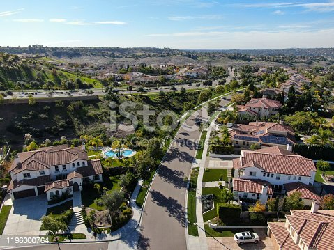 Aerial view of small neighborhood with residential modern subdivision luxury houses in Chula Vista, California, USA.