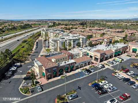 Aerial view of small town shopping center with supermarket, restaurant and parking for car. Torrey Highlands, San Diego, California, USA. February 25th, 2020