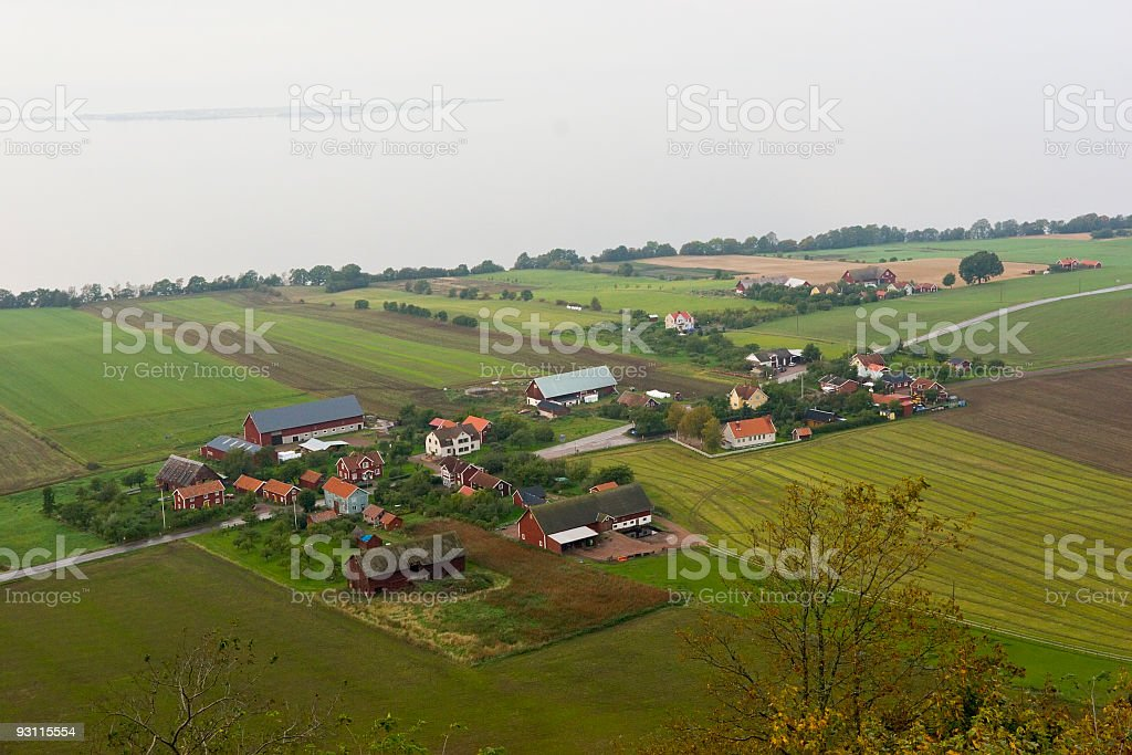 Aerial view of small village and fields royalty-free stock photo