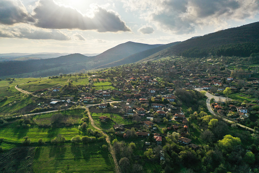 A drone point of view of historical place in Bulgaria, village Jeravna.