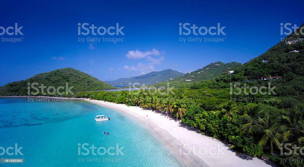 aerial view of Smuggler's Cove, Tortola, British Virgin Islands stock photo