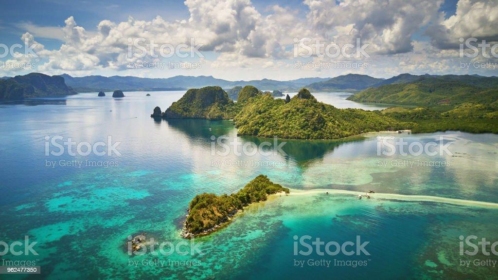 Aerial view of Snake island, El Nido, Palawan, Philippines stock photo