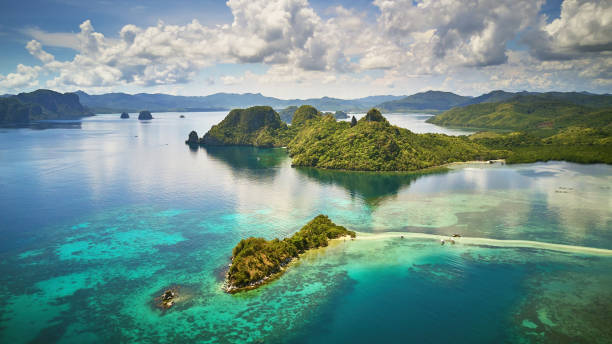 aerial view of snake island, el nido, palawan, philippines - philippines stock photos and pictures