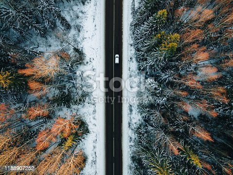 1066508460 istock photo Aerial view of snow covered trees in forest and winter country road with a car 1188907252