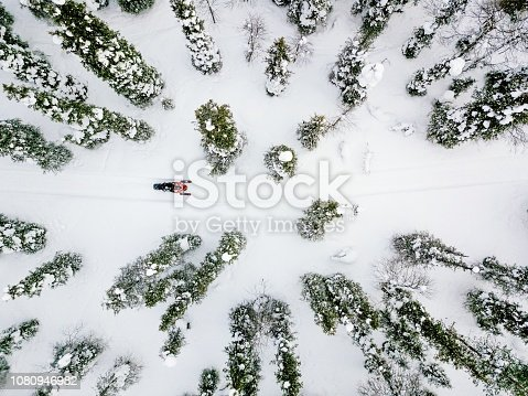 istock Aerial view of snowmobile in snow winter day in rural Finland 1080946982