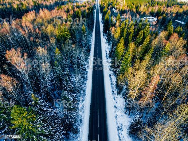 Photo of Aerial view of snowy forest with a road. Captured from above with a drone