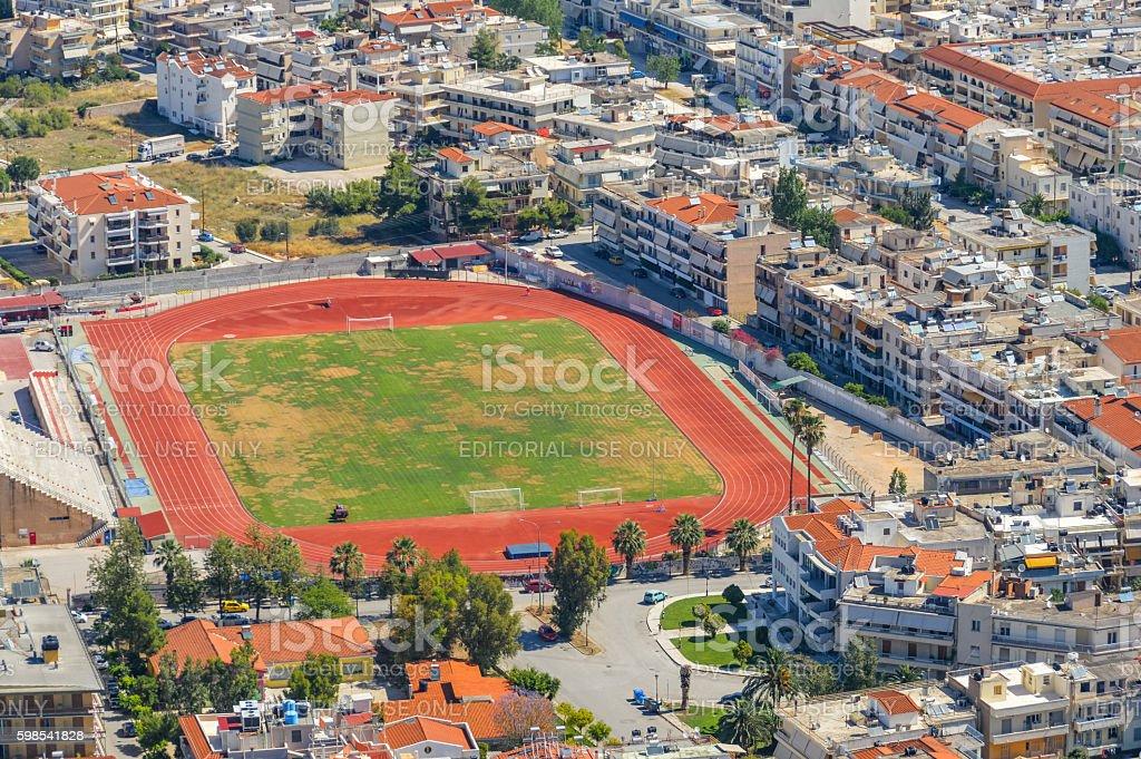 Aerial view of soccer field in Nafplio, Greece photo libre de droits