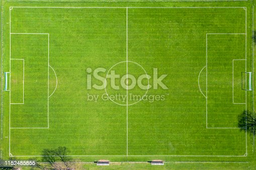 Aerial view of soccer, football field.
