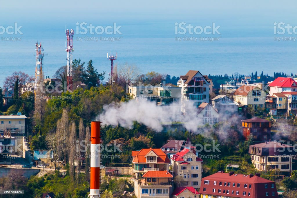 Aerial view of Sochi, Russia stock photo