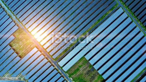 Aerial view of solar cell field.