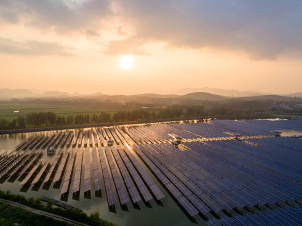 Aerial view of solar cell field. stock photo