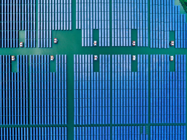 Luftaufnahme des Solarzellenfeldes. – Foto