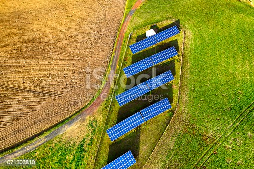Aerial view of solar panel in the countryside