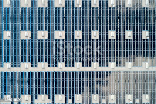 Renewable energy plants, aerial view of solar panels on the rooftop in Bavaria, Germany