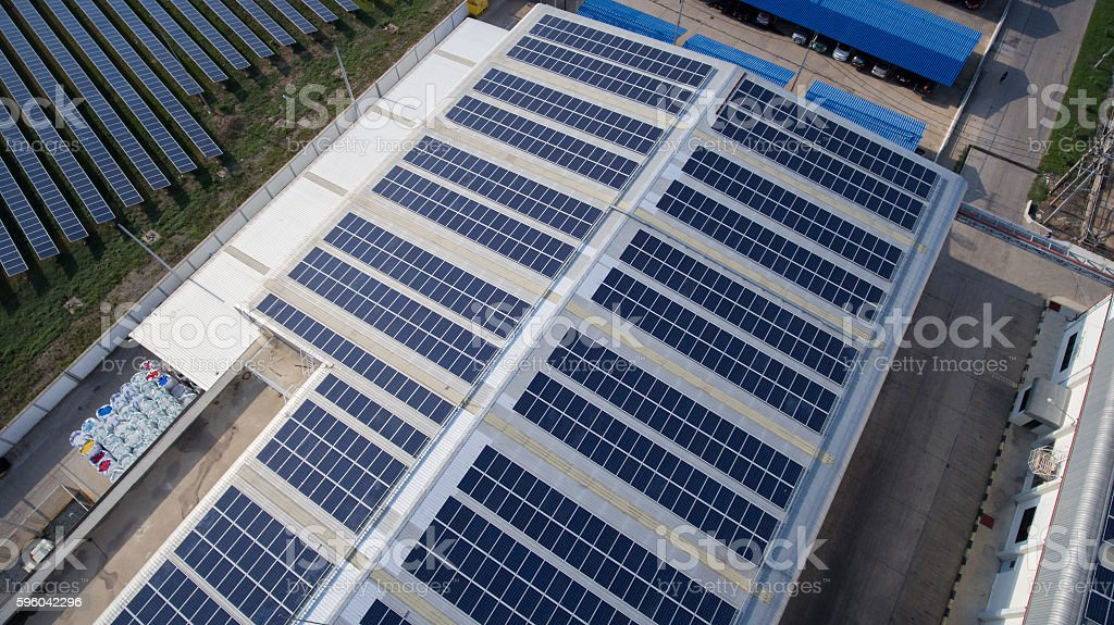 Aerial view of Solar panels on rooftop stock photo