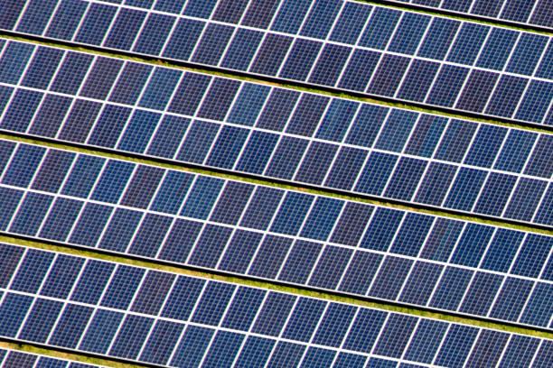 태양 전지판의 조감도 스톡 사진