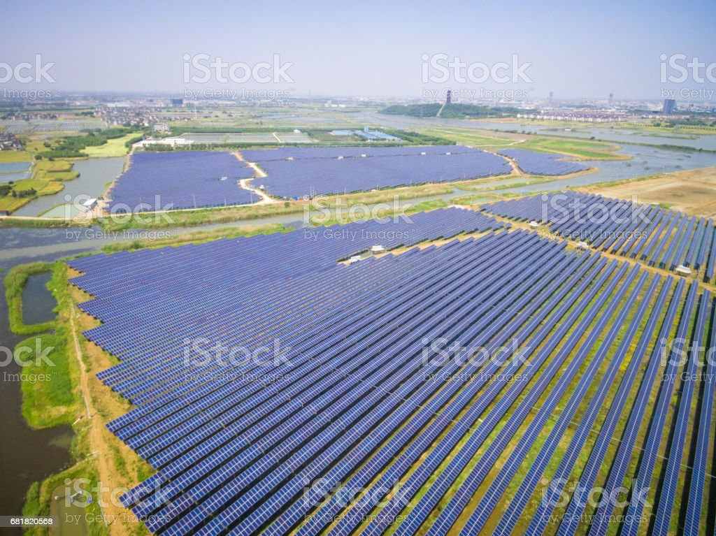Aerial view of solar power station stock photo