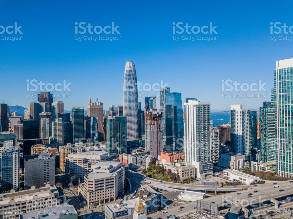 Aerial view of SOMA and the Salesforce Tower stock photo