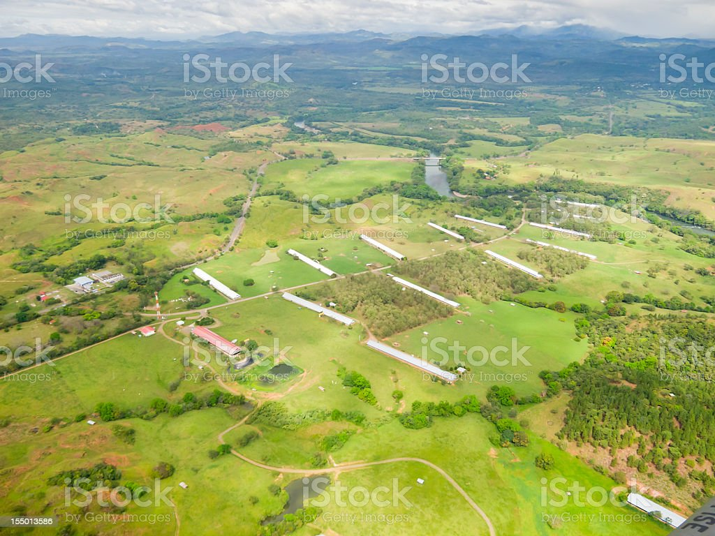 Aerial view of some farms in Panama royalty-free stock photo