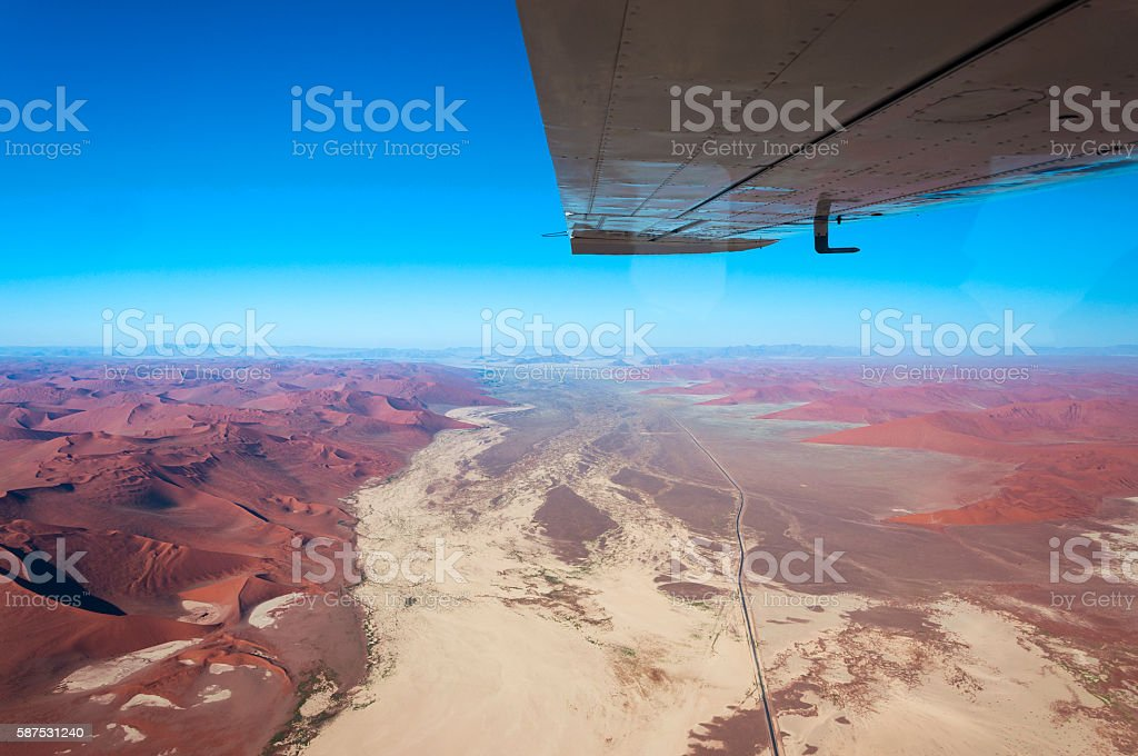 Aerial view of Sossusvlei in Namibia, Africa stock photo