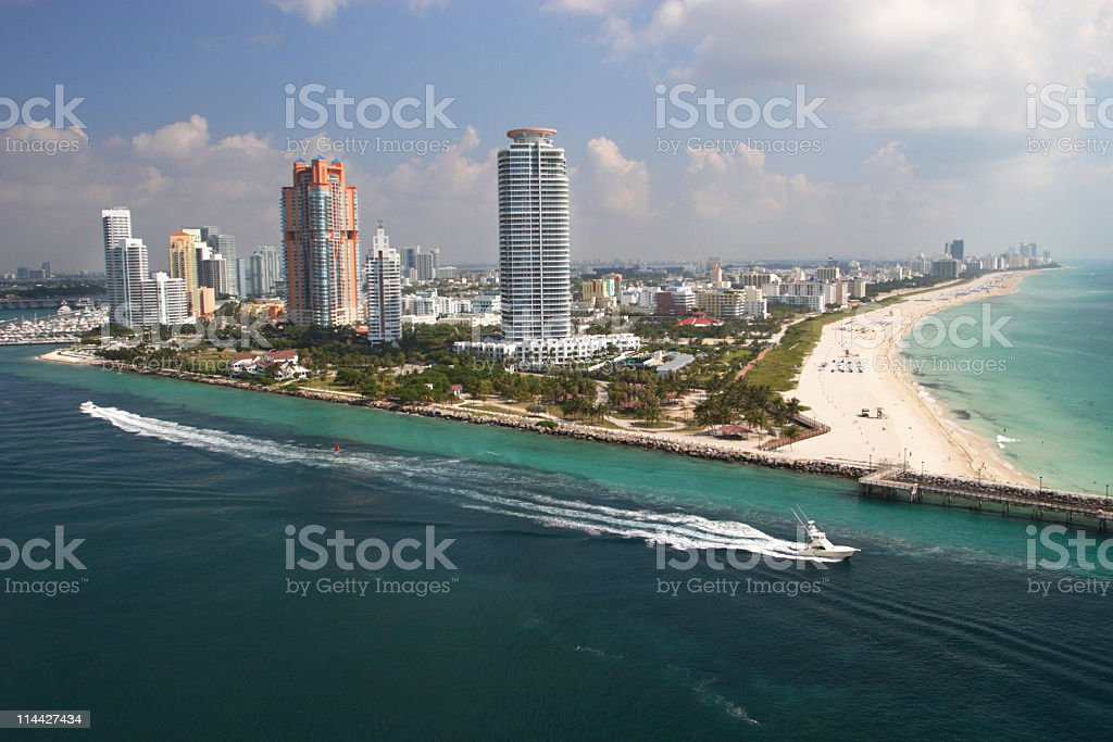 aerial view of South beach stock photo