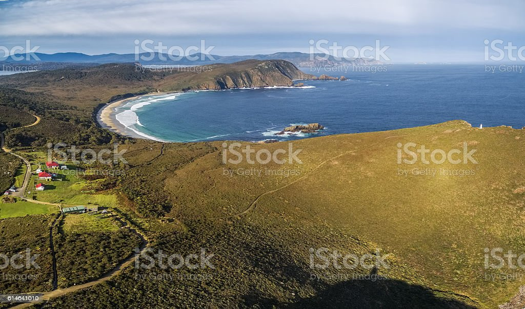 Aerial view of South Bruny National Park. Bruny Island, Tasmania stock photo