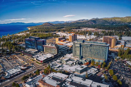 Aerial View of South Lake Tahoe which is on the California Nevada Stateline