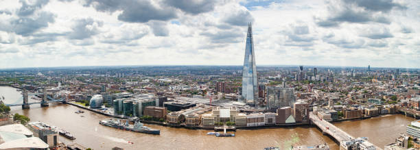 aerial view of South London with London Bridge  Shard skyscraper and River Thames aerial view of South London with London Bridge  Shard skyscraper and River Thames central london stock pictures, royalty-free photos & images
