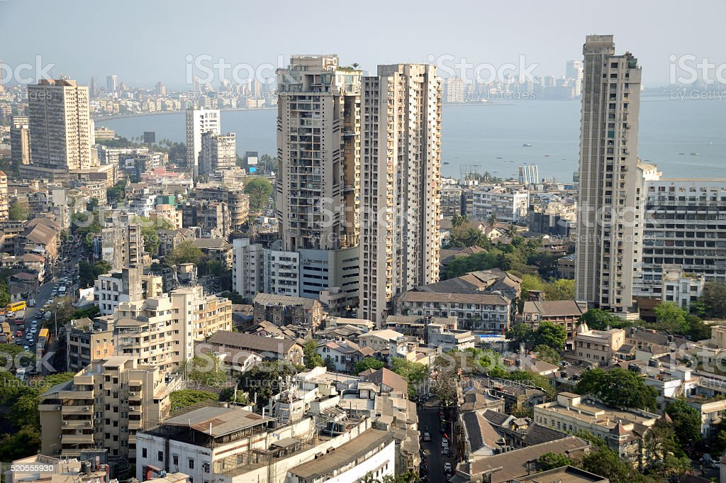 Aerial view of south Mumbai's skyline stock photo