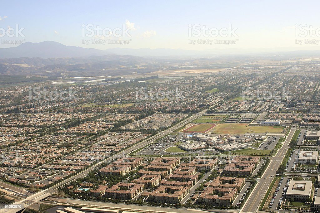Aerial view of south Orange County royalty-free stock photo