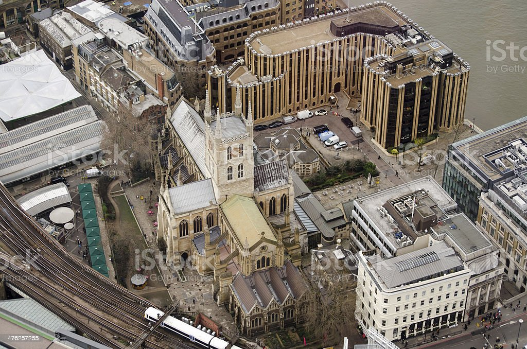Aerial View of Southwark Cathedral stock photo