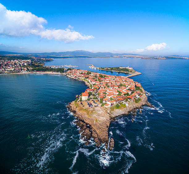 Aerial view of  Sozopol, Bulgaria Panoramic view of Sozopol, Bulgaria bulgaria stock pictures, royalty-free photos & images