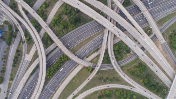 Aerial View of Spaghetti Junction in Atlanta, GA stock photo
