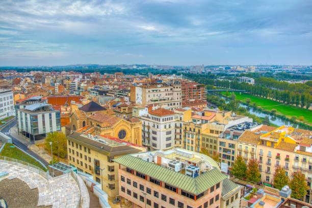 aerial view of spanish city lleida - lleida стоковые фото и изображения