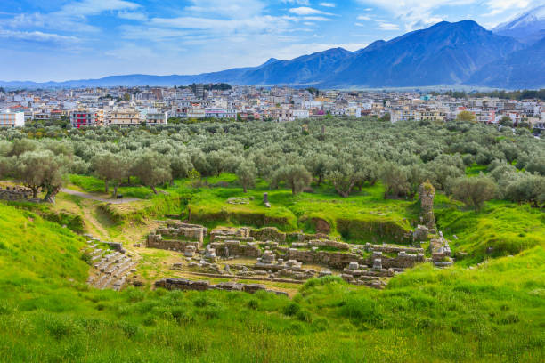 Aerial view of Sparta, Peloponnese, Greece stock photo