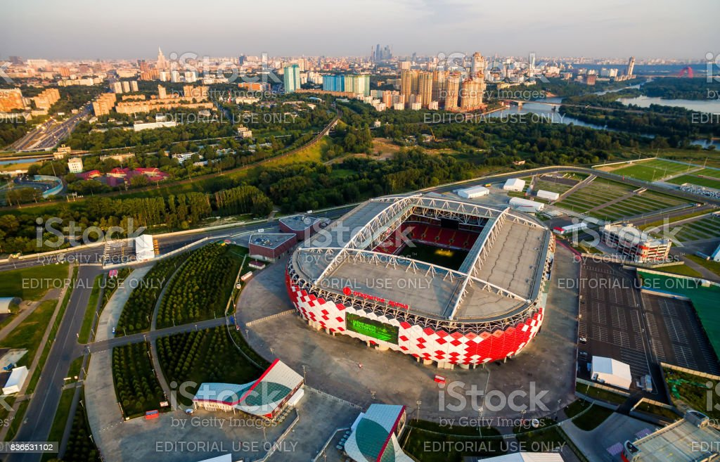 Aerial view of Spartak Stadium in Moscow stock photo