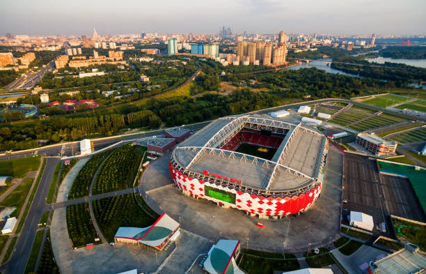 aerial view of spartak stadium in moscow - russia stock pictures, royalty-free photos & images