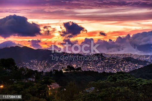 Aerial view of spectacular fire like skyline sunset with vibrant colors in Caracas Venezuela.