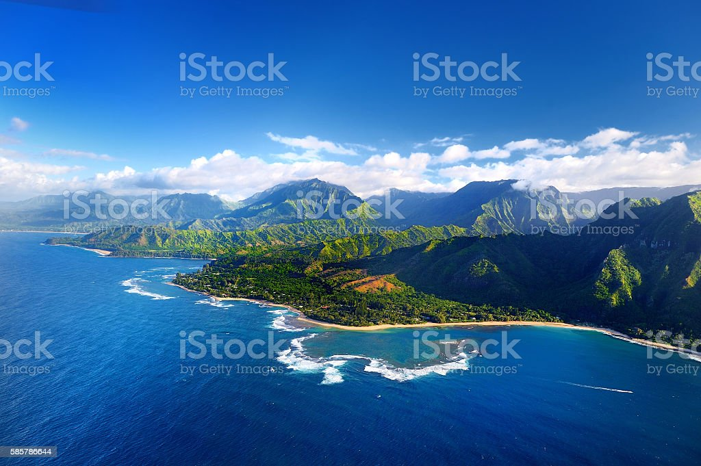 Aerial view of spectacular Na Pali coast, Kauai stock photo
