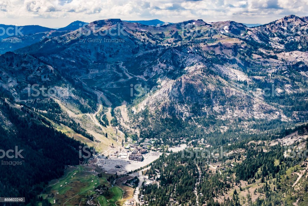 Aerial View of Squaw Valley stock photo